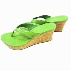 UGG Natassia Platform Size 10 Cork Sandals Green